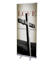 Love Starts Here (31 inch x 79 inch) RollUp Banner