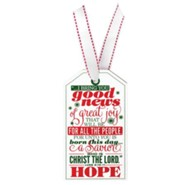 Hope, Christmas Tag Ornament (Luke 2:10-11)