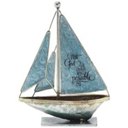 With God, All Things Are Possible Metal Sailboat, Small