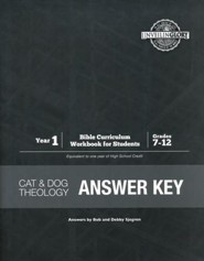 Cat and Dog Theology Year 1 Bible Curriculum Answer  Key, Grades 7-12
