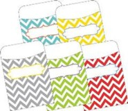 Chevron Beautiful Peel & Stick Library Pockets (Pack of 30)