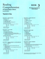 Reading Comprehension in Varied Subject Matter, Answer Key Book 3, Grade 5