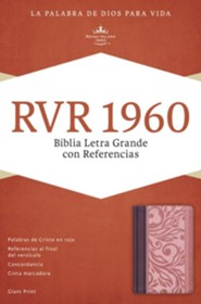 RVR 1960 Biblia Letra Grande con Referencias, borravino y rosado símil piel, RVR 1960 Giant Print Reference Bible, Blush and Wine LeatherTouch