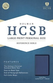HCSB Large-Print Personal Size Bible--soft leather-look, cobalt blue (indexed)  -