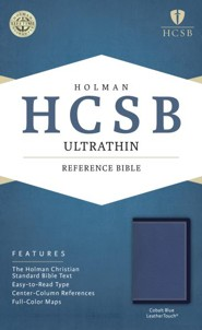 HCSB Ultrathin Reference Bible--soft leather-look, cobalt blue