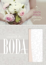 RVR 1960 Biblia Recuerdo de Boda, filigrana blanca con rosa palo simil piel (RVR 1960 Keepsake Bride's Bible, White Filigree with Blush LeatherTouch)