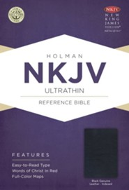 NKJV UltraThin Reference Bible, Black Genuine Leather, Thumb-Indexed  -