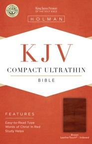 KJV Compact Ultrathin Reference Bible, Brown Cross LeatherTouch, Thumb-Indexed  -