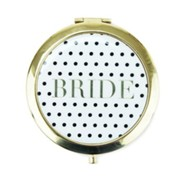 Bride Compact Mirror, Black and White Polka Dot