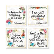 Religious Floral Coasters, Set of 4