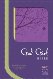 NKJV God Girl Bible--soft leather-look, pretty purple/neon green with tree design