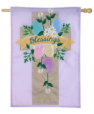 Blessings, Easter Cross, Applique Flag, Large