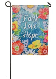 Faith Love Hope Suede Flag, Small