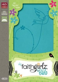 NKJV Faithgirlz Bible--soft leather-look, Caribbean blue - Imperfectly Imprinted Bibles