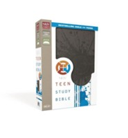 NKJV Teen Study Bible--soft leather-look, charcoal