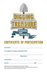 Digging for Treasure VBS: Participation Certificates, 20 pk