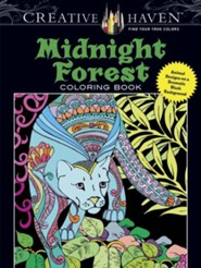 Midnight Forest Coloring Book: Animal Designs on a Dramatic Black Background