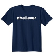 Religious - #Believer Hashtag, Shirt, Navy, Small