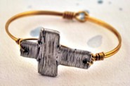 Oxidized Brass Bracelet with Pewter Wire Cross