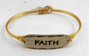 Oxidized Brass Bracelet with Pewter Bar, Faith
