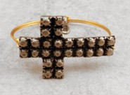 Oxidized Brass Bracelet with Pewter Textured Cross