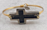 Oxidized Brass Bracelet with Pewter Incised Cross