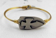 Oxidized Brass Bracelet with Pewter Shield of Faith