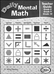 Daily Mental Math Teacher's Guide Gr 8, 9, & 10