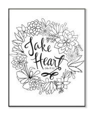 Take Heart, Coloring Wall Art, Small