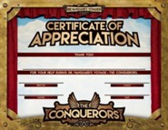 The Conquerors VBS 2016: Appreciation Certificate, pack of 10