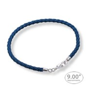 Braided Blue Leather Charm Bracelet apprx 9