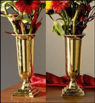 Brass Altar Vases with Liners, Set of 2