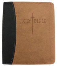 Imitation Leather Black / Tan Large Print Book Red Letter Thumb Index