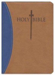 Imitation Leather Blue / Tan Large Print Book Red Letter Thumb Index