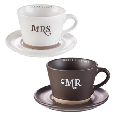 Mr. and Mrs. Mug and Saucer Set, 2 Mugs and Saucers  -