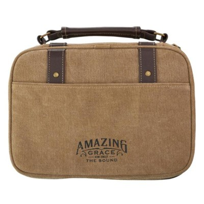 Amazing Grace Bible Cover, Canvas, Tan, Large  -