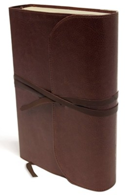 NKJV Journal the Word Bible, Large Print, Premium Leather, Brown, Red Letter Edition  -