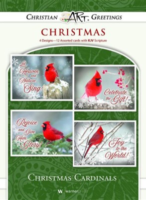 Christmas Cardinals, Box of 12 Christmas Cards (KJV)  -