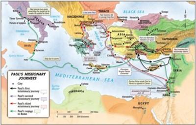 Map Wall Chart Pauls Missionary Journeys