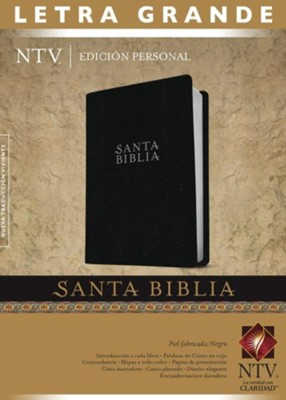 Edici&#243n personal letra grande NTV piel fab-negro, NTV Personal Size Large Print Bible, black bonded leather  -