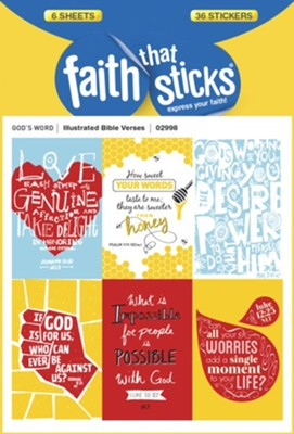 Illustrated Bible Verses Stickers  -