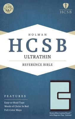 HCSB Ultrathin Reference Bible, Brown and Blue LeatherTouch with Magnetic Flap, Thumb-Indexed  -