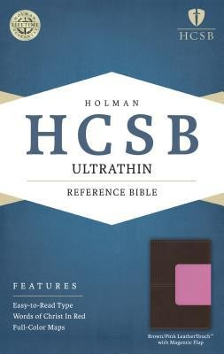 HCSB Ultrathin Reference Bible, Brown and Pink LeatherTouch with Magnetic Flap  -