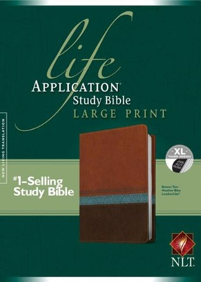 NLT Life Application Study Bible, Large Print TuTone Brown/Tan/Heather Blue Indexed Leatherlike  -