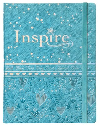 NLT Inspire Bible for Girls, Leatherlike Hardcover, Blue  -     By: Tyndale, Christian Art