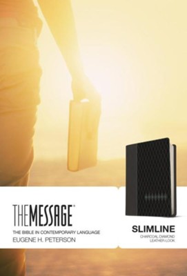 Message Slimline Bible, Charcoal Diamond Leather-look  -     By: Eugene H. Peterson