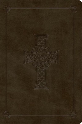 ESV Large Print Bible, TruTone, Olive, Celtic Cross Design  -