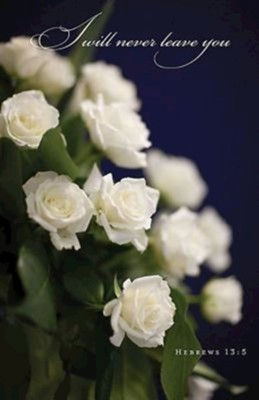 White Roses Funeral Bulletins (Package of 50)  -