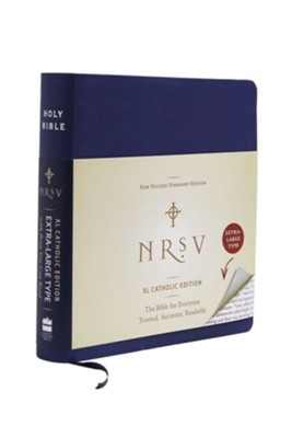 NRSV XL Catholic Bible, Imitation Leather, Navy   -     By: Harper Bibles