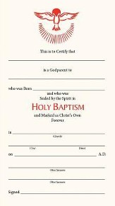 Godparents Certificate, Package of 25